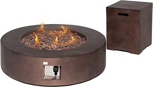 COSIEST 2-Piece Outdoor Propane Firepit Table Set w Tank Table, 42-inch Dark Fire Table 50,000 BTU w Bronze Round Base,16 inches Tank Cozy Side Table 20 Gallon for Garden,Pool,Backyard