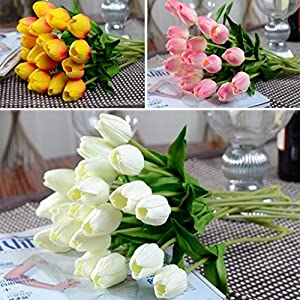 Esharing Artificial Silk Fake Flowers Single Stem PU Touched Tulip Arrangement Bouquet with Glorious Moral for Home Office Wedding Parties,Pack of 10 (blue) 3