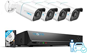Reolink 8CH 4K Security Camera System H.265, 4pcs 8MP Person/Vehicle Detection Smart Wired Outdoor PoE IP Cameras, 8MP 8-Channel NVR with 2TB HDD for 24/7 Recording, RLK8-810B4-A