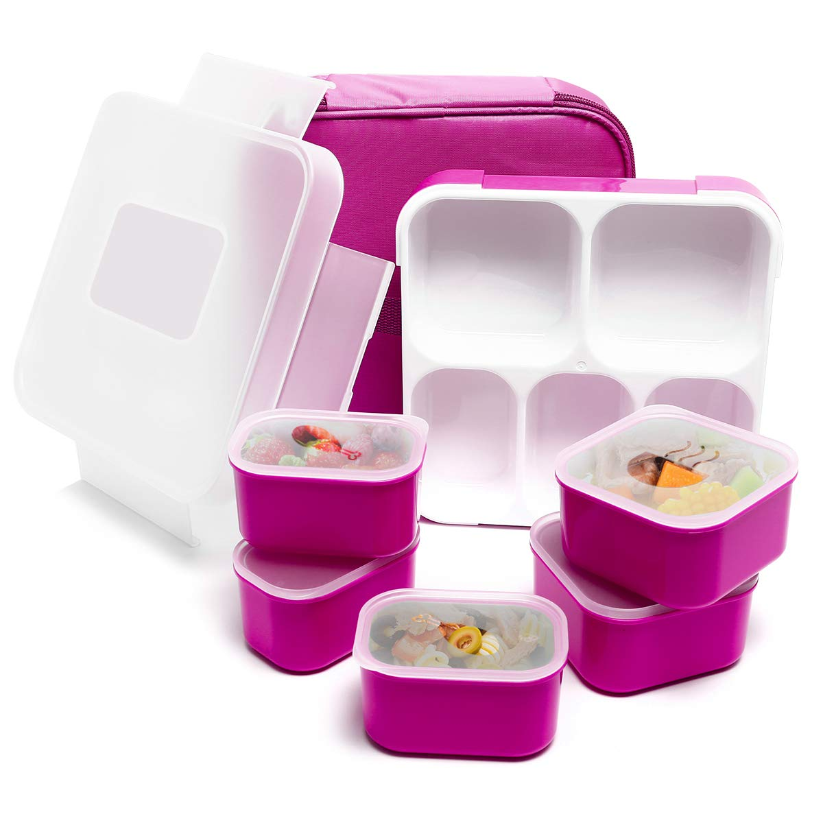 Fun Life Bento Lunch Box, 5 Compartment Insulated Leakproof Meal Prep Container Eco-Friendly Reusable with Spoon for Men,Women,Adults,Kids (purple)