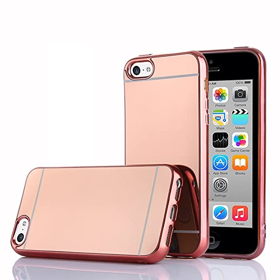 the best attitude 292f8 0d65e TabPow iPhone 5C Case, Improved Mirror Reflection, Scratch-Resistant Bling  Luxury Slim TPU PC Case Cover For iPhone 5C - Rose Gold