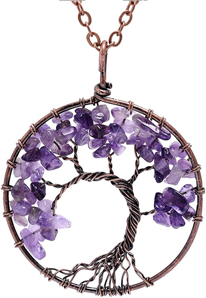 Lv.unique Womens Necklace Tree of Life Pendant Necklace Copper Chakra Gemstone Amethyst Pendant Necklace Adjustable Long Chain Y Necklace for Girls