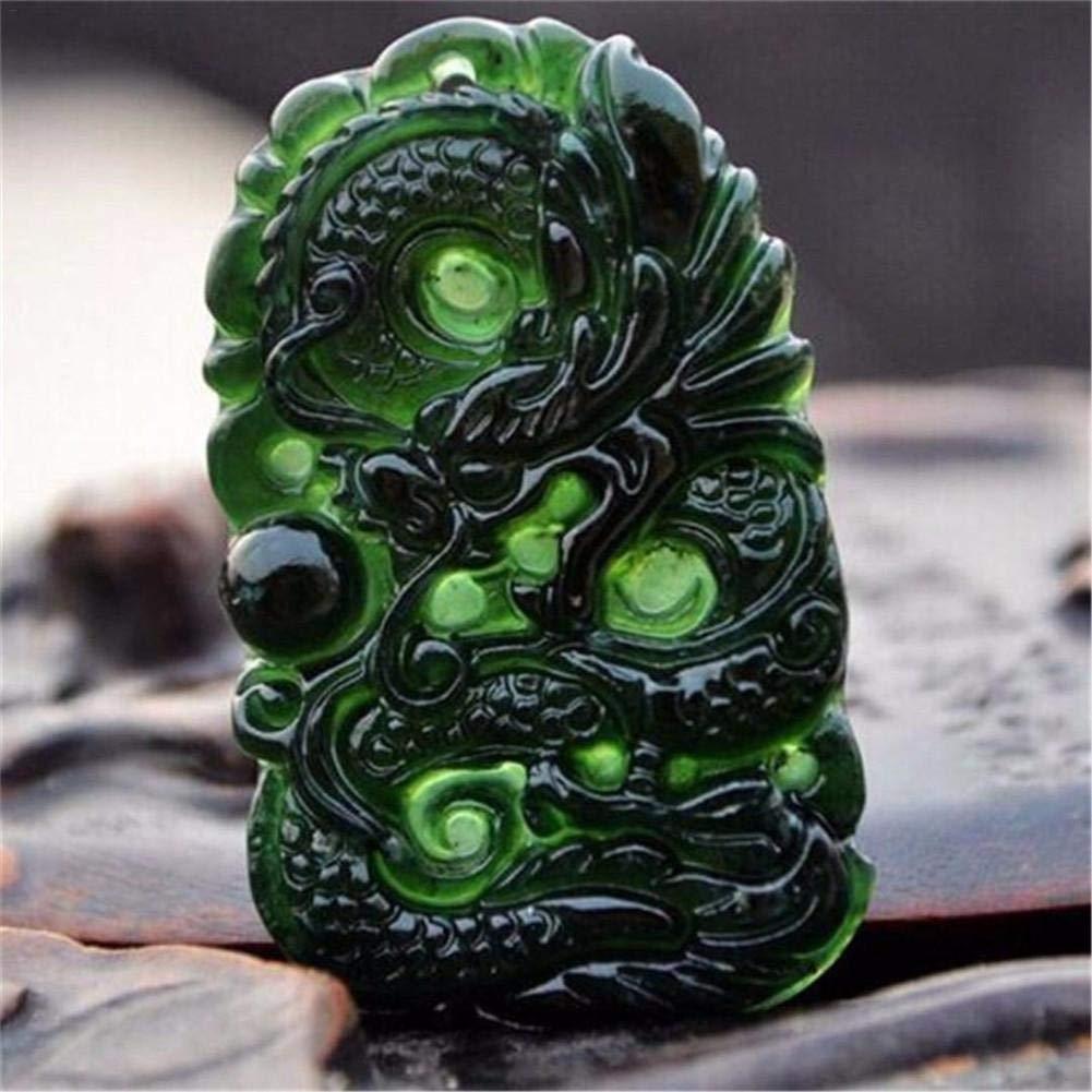 a Forma di Drago di Giada Lavorata a Mano Amuleto di buona Fortuna Decorazione da scrivania per Ufficio Studio di Artigianato starter Cina Natural Black Green Jade Pendant