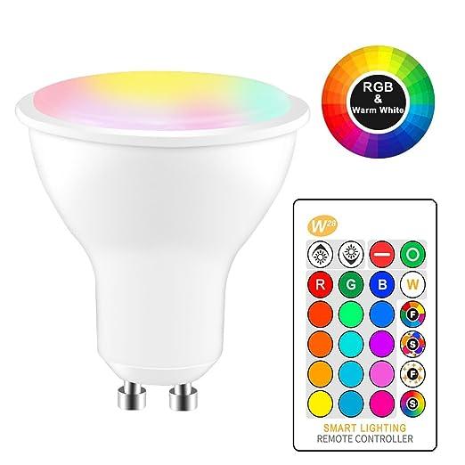 8W RGBW Bombilla LED GU10 Cambio de color Atmósfera Iluminación Lámpara LED Flash Estroboscópico Modo de