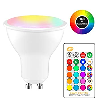 Tioodre GU10 RGB Bombilla LED multicolor con control remoto, Luz de punto cambiante de color