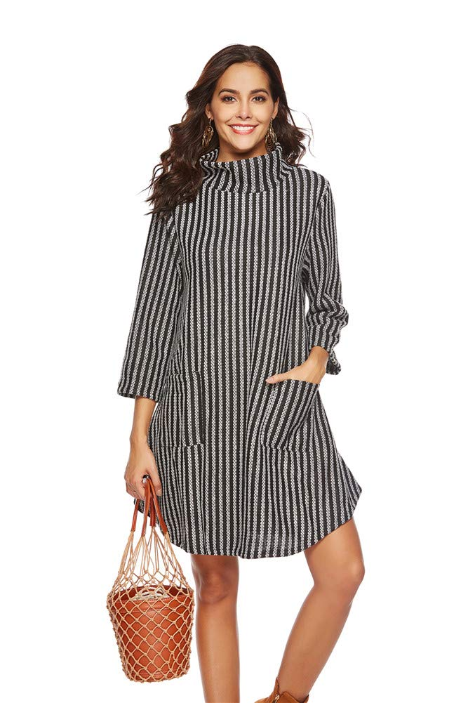 White Women Dress High Collar Fashion Sexy Long Sleeve Sweater Skating Skirt Girl Stripe Elegant Cockatail Office Clubwear Bodycorn Dress