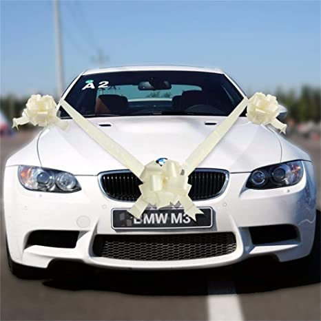 Tts Ivory Ribbon Wedding Car Decoration Kit Wrapping Large Bow 1 Bow 7 Metres Ribbon