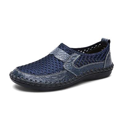 LANSEYAOJI Mocasines para Hombre Zapatos de Cuero de Verano Casual Caballero Loafers Zapatos de Conducción Moda Plano Mocasín Transpirable Zapatos de Malla ...