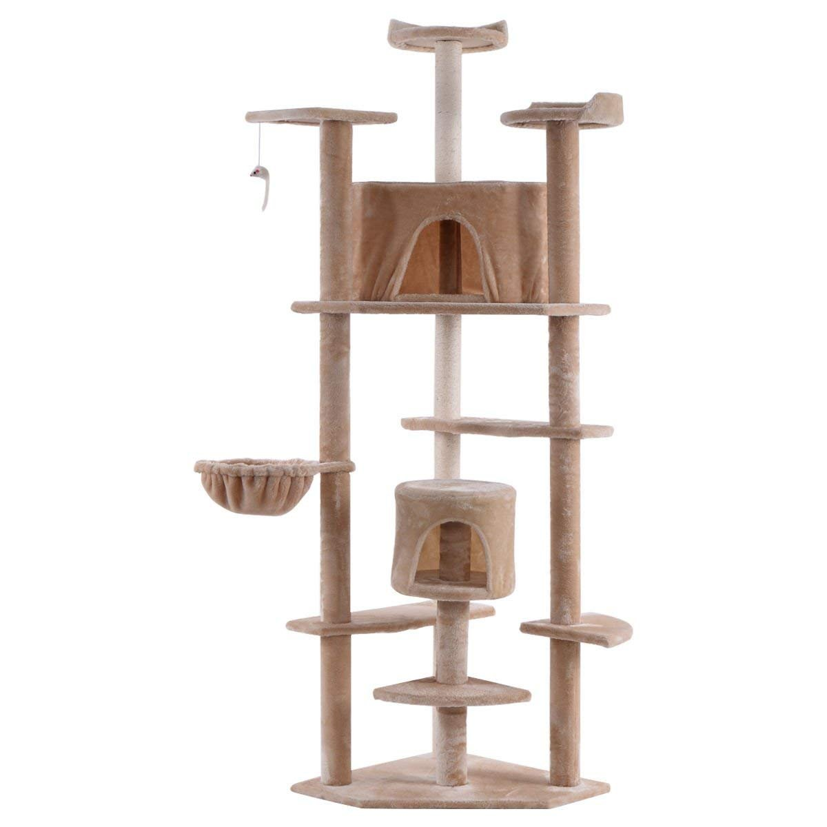 TANGKULA 80'' Cat Tree Condo Multi-Level Activity Tower Furniture Scratch Post Pet Play House Kitty (Beige)