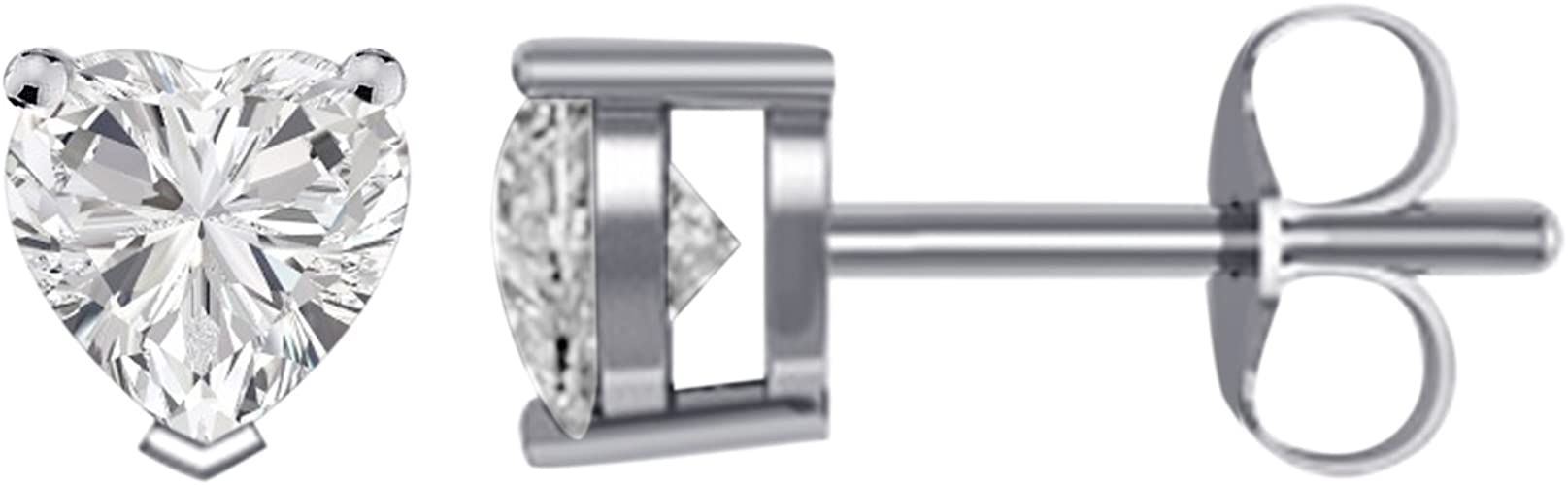 14K White Gold Plated CZ Stud Earrings Simulated Diamond Heart Cubic Zirconia Ear Stud Set 4mm To 8mm