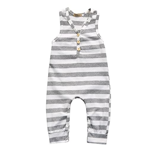 0a6d4059d7c Lanhui Newborn Baby Girl Boy Sleeveless Striped Romper Jumpsuit Clothes  Outfits (Gray