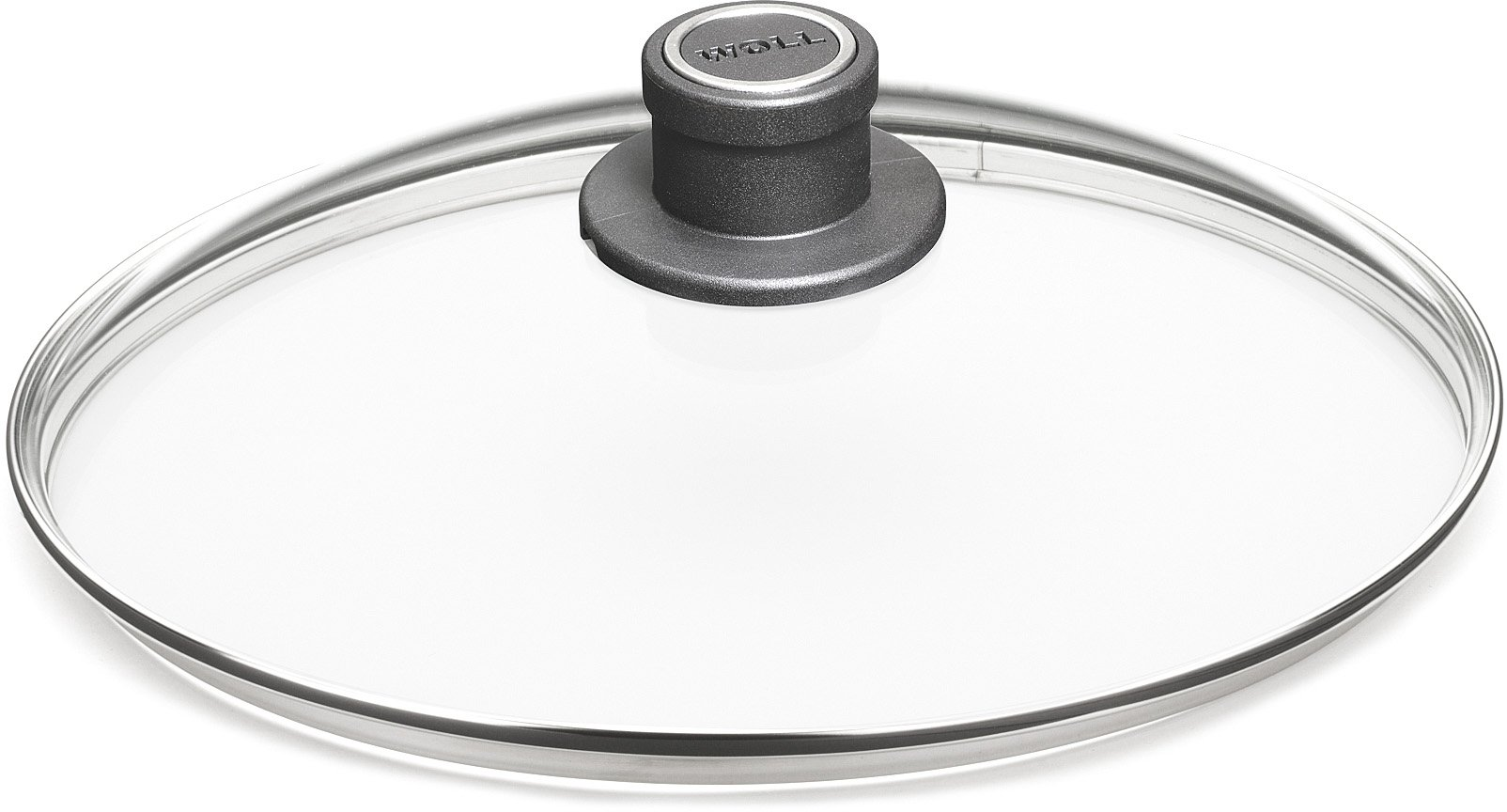 Woll Tempered Glass with Stainless Steel Rim & Vented Knob Round Lid, 11 3/4'', Clear