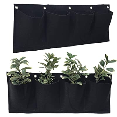 2 PCS 4 Pockets Horizontal Wall Mount Planter Felt Garden Hanging Grow Bags 10 in x 25 in: Kitchen & Dining