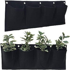 2 PCS 4 Pockets Horizontal Wall Mount Planter Felt Garden Hanging Grow Bags 10 in x 25 in