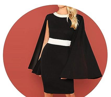 6e235819b9e60 Black Office Lady Colorblock Pearl Beading Contrast Panel Cape Cloak ...
