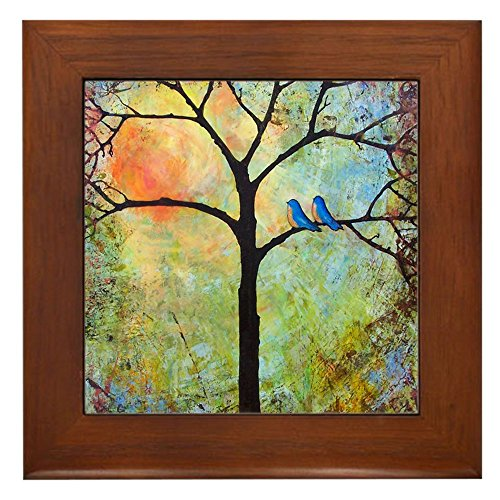 CafePress - Sunshine Tree Framed Tile - Framed Tile, Decorative Tile Wall Hanging