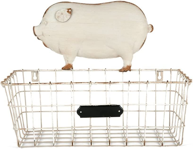NIKKY HOME Shabby Chic Style Wall Mounted Wire Mesh Storage Rack Basket Decor, White Piggy