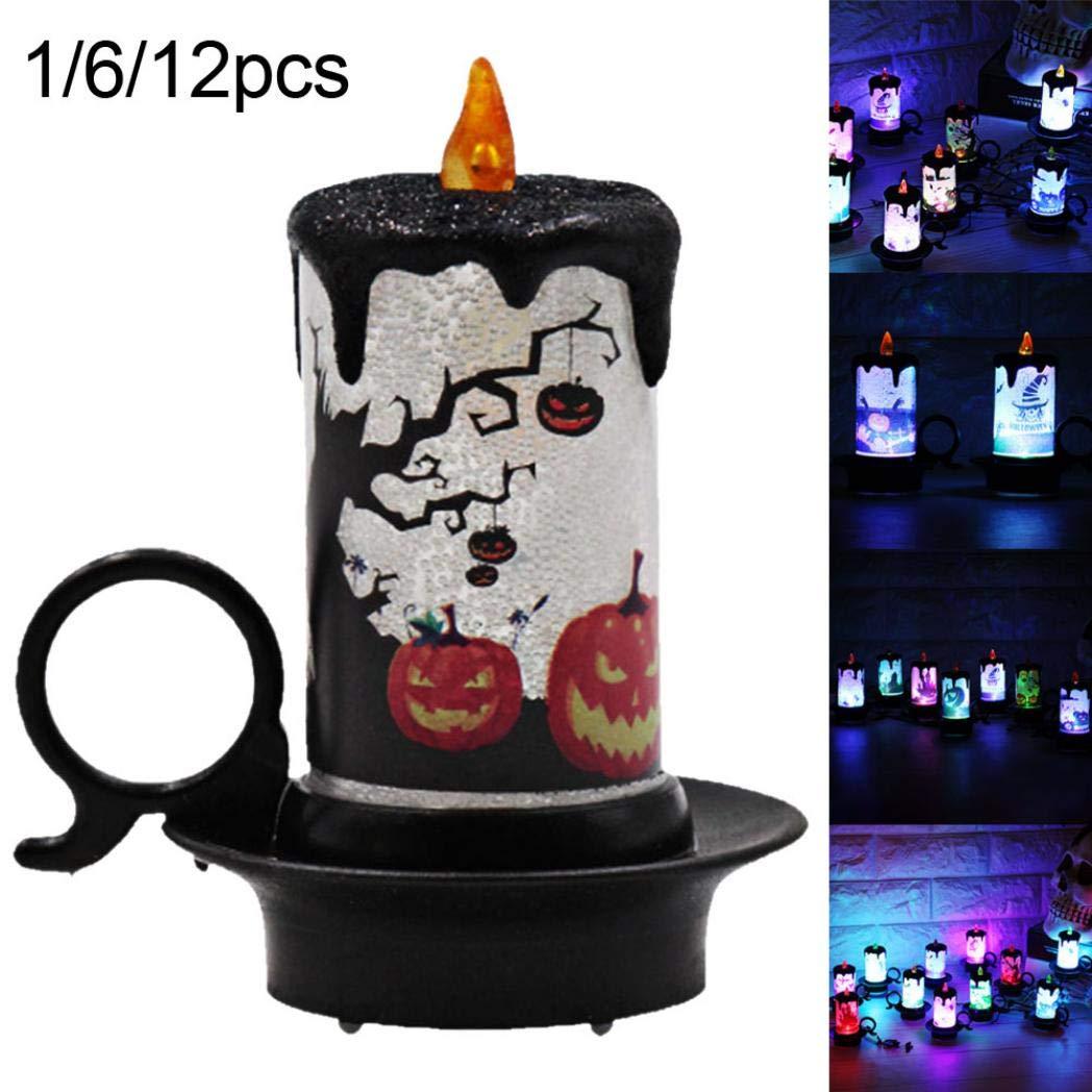 DeYL Decorazioni per Halloween Zucca Householed elettrica ha Condotto la Luce del t/è Lampada della Candela Escursioni Ornament Decorazione di Halloween 6Pcs