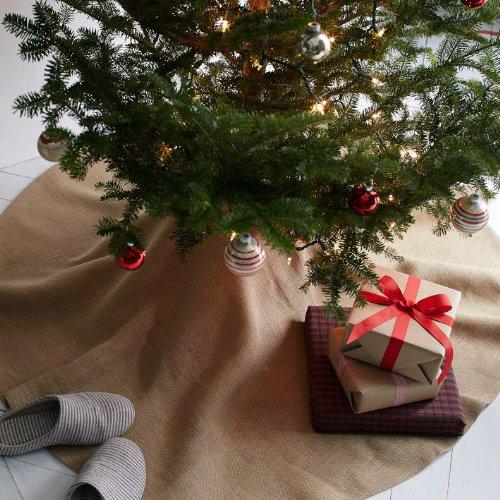 """60"""" Burlap Tree Skirt Plain Natural Color Sewn-edge Christmas Tree Decor"""