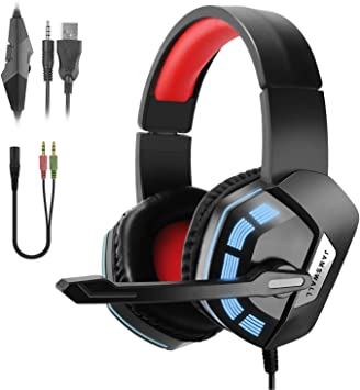 JAMSWALL Cascos Gaming Headset 3.5mm con Cable Over-Head Auriculares estéreo con Micrófono Control de Volumen para PS4 Xbox One PC Laptop Smartphone: Amazon.es: Electrónica