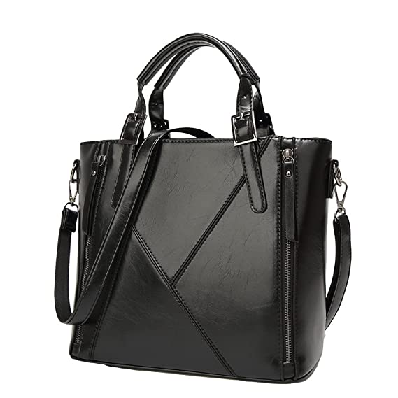 4479d29912 Diagonal Tote Bag K Word Pu Leather Fashion Lady Bag European And American  Style Stitching Bag Fashion Wild Casual Bag,Black-OneSize: Amazon.co.uk:  Clothing