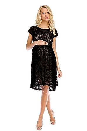 534699a7f2e My Tummy Mutterschafts Kleid Umstands Kleid Scarlett Spitze schwarz-beige S  (small)