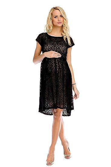 My Tummy Mutterschafts Kleid Umstands Kleid Scarlett Spitze schwarz-beige