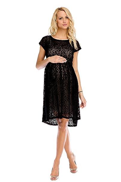 dbb8843393df My Tummy Vestito donna premaman Scarlett pizzo nero S (small) Abbigliamento  Premaman Abiti eleganti