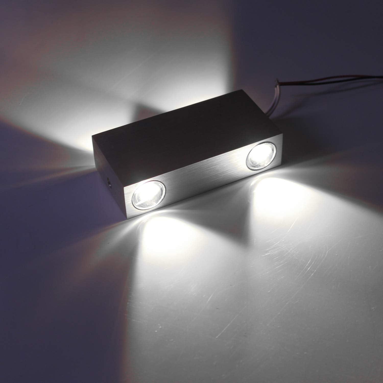 Wandlampe LED Innen Aussen Wandleuchte Modern 4W Aluminium Kaltwei/ß Wasserdicht 120/°Ausstrahlungswinkel