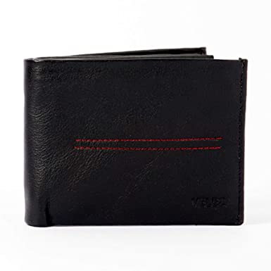 Velez Genuine Men Leather Soft Thin Slimfold Bifold Holder Cartera de Cuero para Hombre Caballero Black