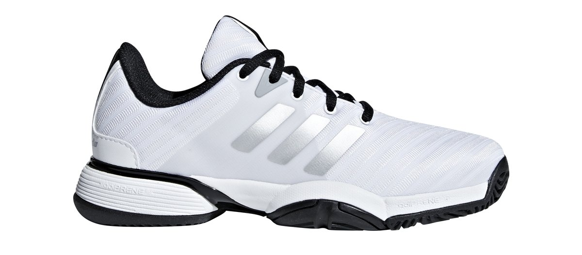 adidas Unisex Barricade 2018 Xj Tennis Shoe, White/Matte Silver/Black, 2 M US Big Kid