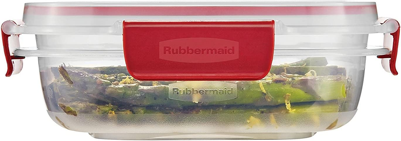 Rubbermaid Easy Find Lids 3-Cup Food Storage Container, Clear with Red Tabs