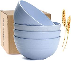 JUCOXO Unbreakable Cereal Bowls - 24 OZ Wheat Straw Fiber Lightweight Bowl Sets 4 - Dishwasher & Microwave Safe - for Dessert,Rice,Soup Bowls