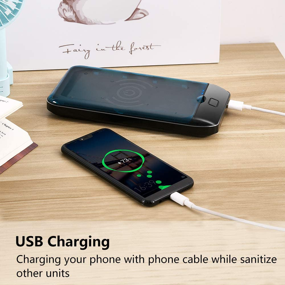 Marnana Portable Cell Phone Sanitizer Case with Wireless Charger /& USB Charger White Multi-Use Smartphone Cleaner Box for iPhone Android Mobile Phone Jewelry Keys UV Phone Sterilizer