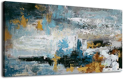 Abstract Wall Art Large Canvas Picture Modern Blue Grey Brown Artwork on Canvas Prints Wall Decoration