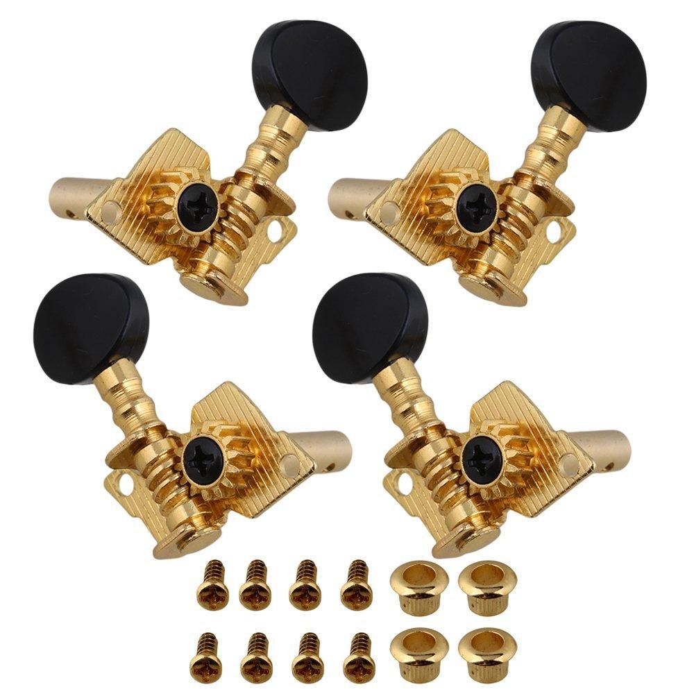 Plaqué or 2R2L mécaniques d'accordage pour ukulélé Machine Head Tuners de concave Bouton BQLZR N04815