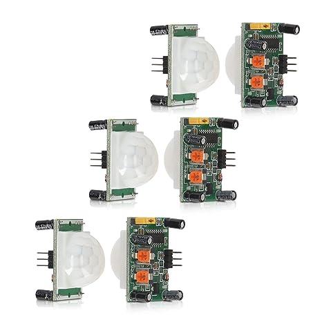 kwmobile 3X Módulo Sensor de Movimiento PIR HC-SR501 con Salida Digital - Sensor por