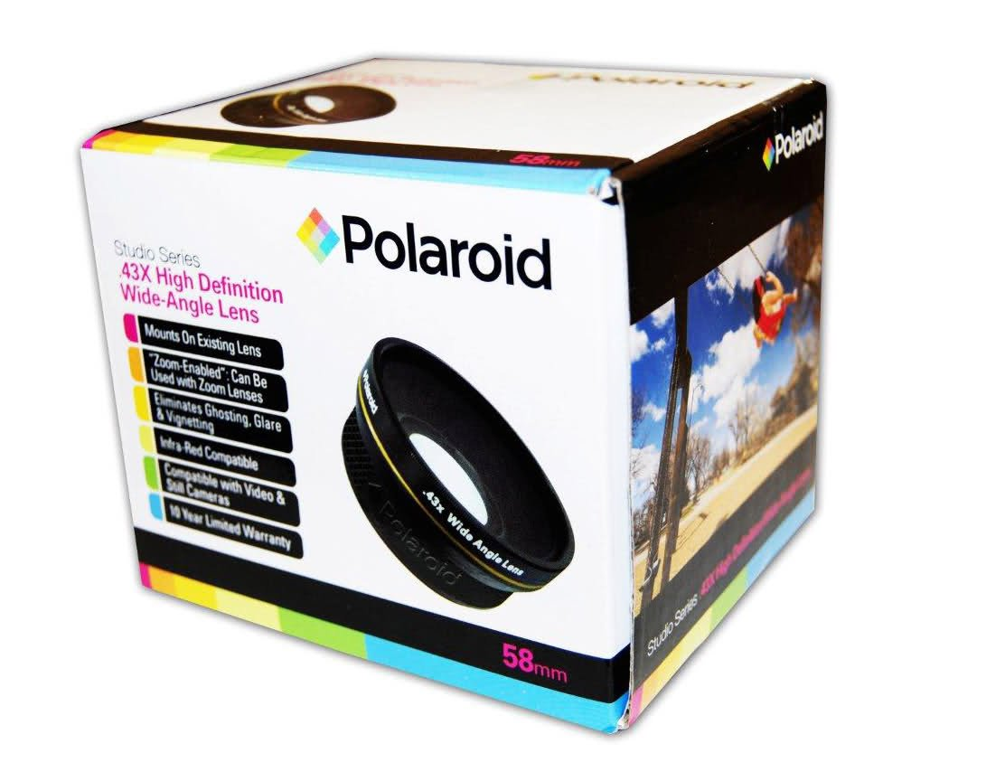 Polaroid Studio Series .43x High Definition Wide Angle Lens With Macro Attachment, Includes Lens Pouch and Cap Covers For The Nikon D40, D40x, D50, D60, D70, D80, D90, D100, D200, D300, D3, D3S, D700, D3000, D5000, D5100, D3100, D3200, D7000, D800, D800E,