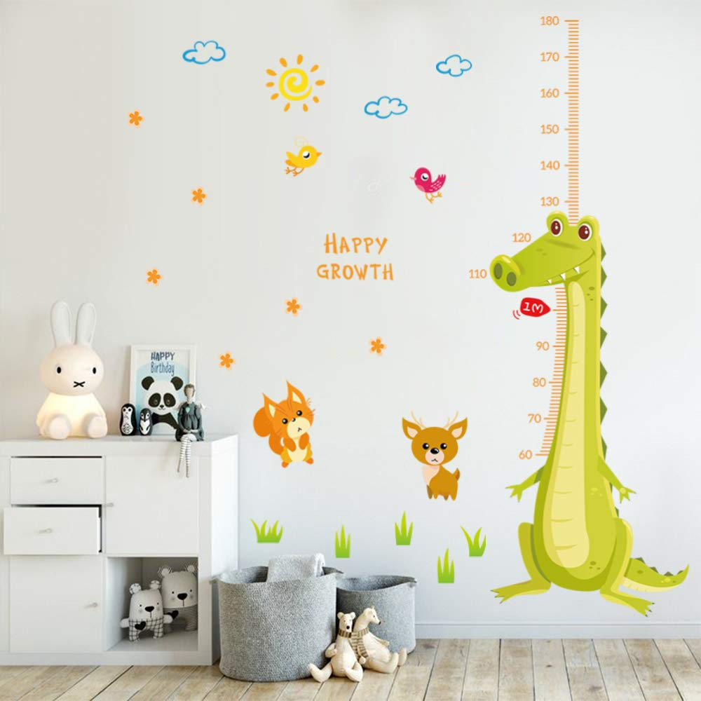 decalmile Tree and Jungle Animals Height Chart Measurement Wall Decals Monkey Giraffe Lion Wall Stickers Removable Home Decoration for Kids Room Nursery Bedroom