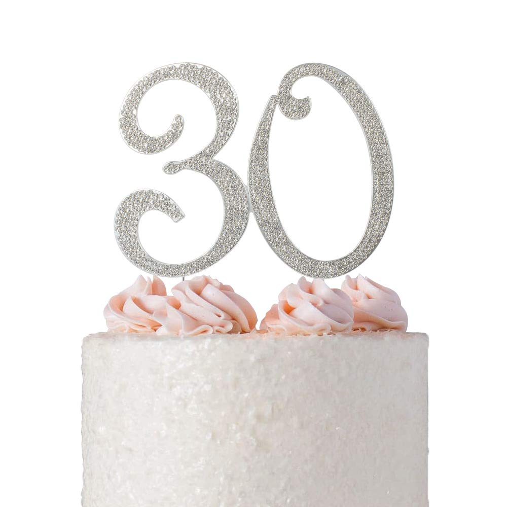 30 Rhinestone Birthday Cake Topper | Premium Bling Crystal Diamond Sparkly Gems | 30th Anniversary or Birthday Cake Topper Decoration Ideas | Perfect Keepsake (30 Silver)