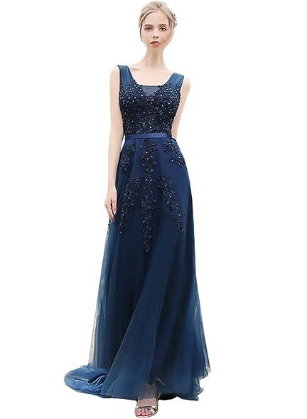 Azbro Womens Floral Lace Paneled V Neck Slim Fit Prom Dress, Navy XL