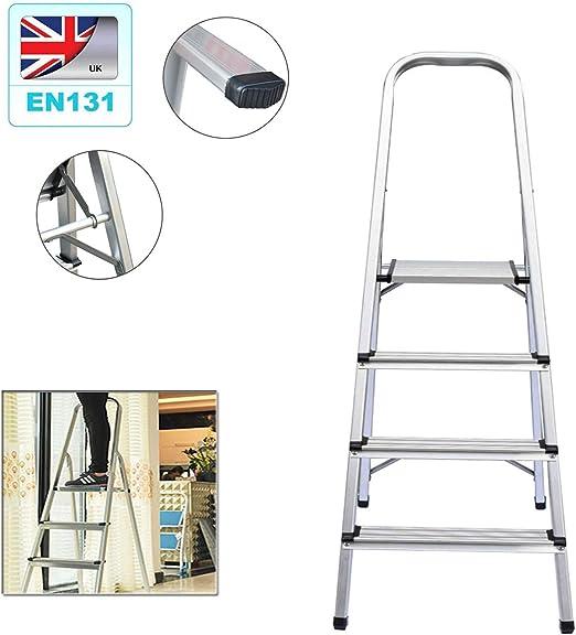 Escalera de aluminio de 4 peldaños, escalera plegable para el hogar, ligera (2,9 kg), patas antideslizantes portátil, máx. Carga máxima: 150 kg.: Amazon.es: Bricolaje y herramientas
