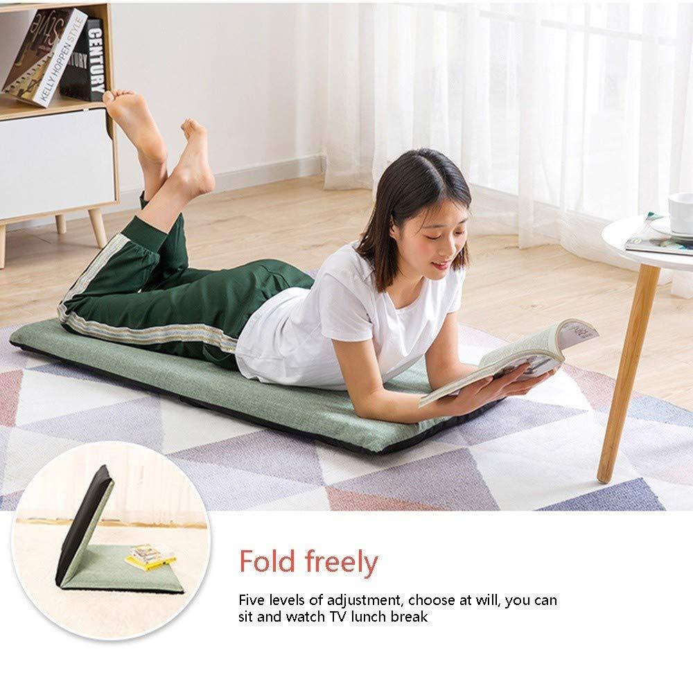 JIEER-C stol golvstol lat soffa avtagbar och tvättbar hopfällbar golvstol flerriktad justering meditation stol för sovrum vardagsrum, grön Brun