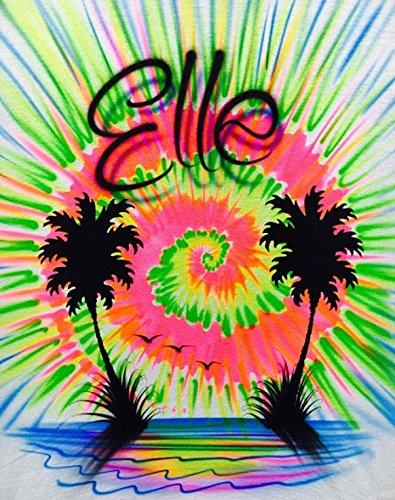Airbrush T Shirt, Tye Dye Beach Scene with Palms ()