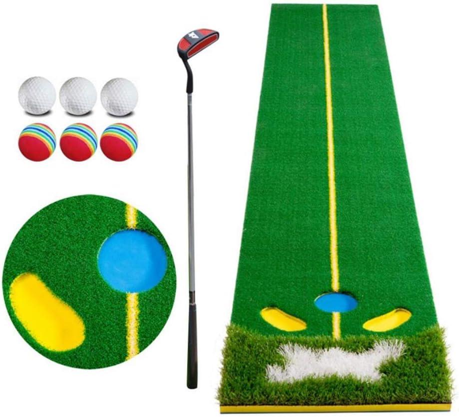 屋内ゴルフパッティングマット、パッティング練習トレーナーセットオフィスホーム With Putter