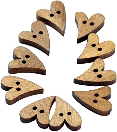 SODIAL Heart Shaped Painted 2 Hole Wooden Buttons,25 Pieces