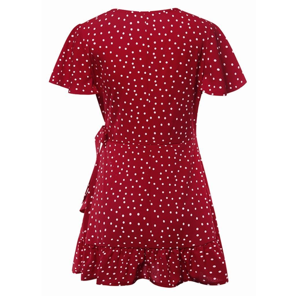 Jentouzz Polka Dot Dress, Women Summer V Neck Bow Ruffles Bohe Party Wrap Dress Mini Dress (L, Red) by Jentouzz (Image #5)