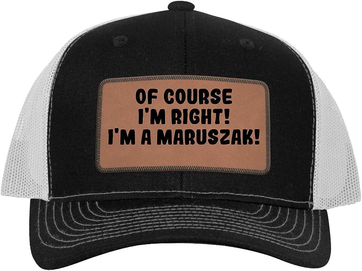 Leather Dark Brown Patch Engraved Trucker Hat Im A Maruszak! One Legging it Around of Course Im Right
