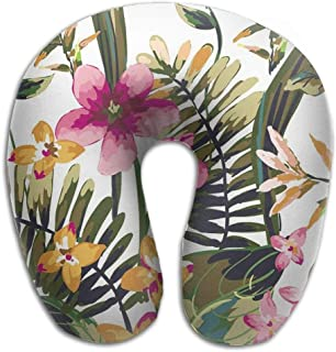 Neck Pillow Flower Painting Travel U-Shaped Pillow Soft Memory Neck Support for Train Airplane Sleeping