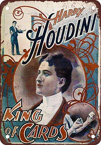 30,48 x 45,72 cm Placa Decorativa de Metal con Aspecto Vintage Harry Houdini King of Cards